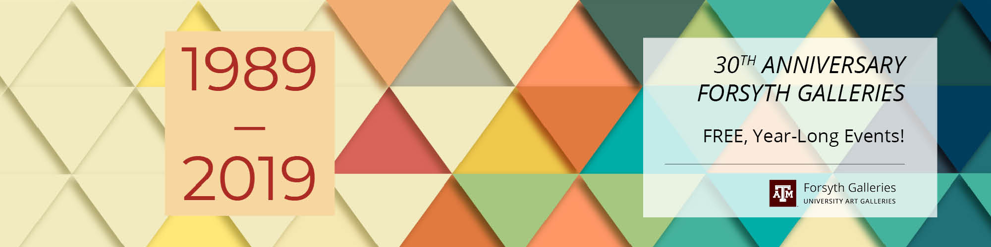 Colorful triangles in peach, teal, blue, navy, forest green, yellow, and pink