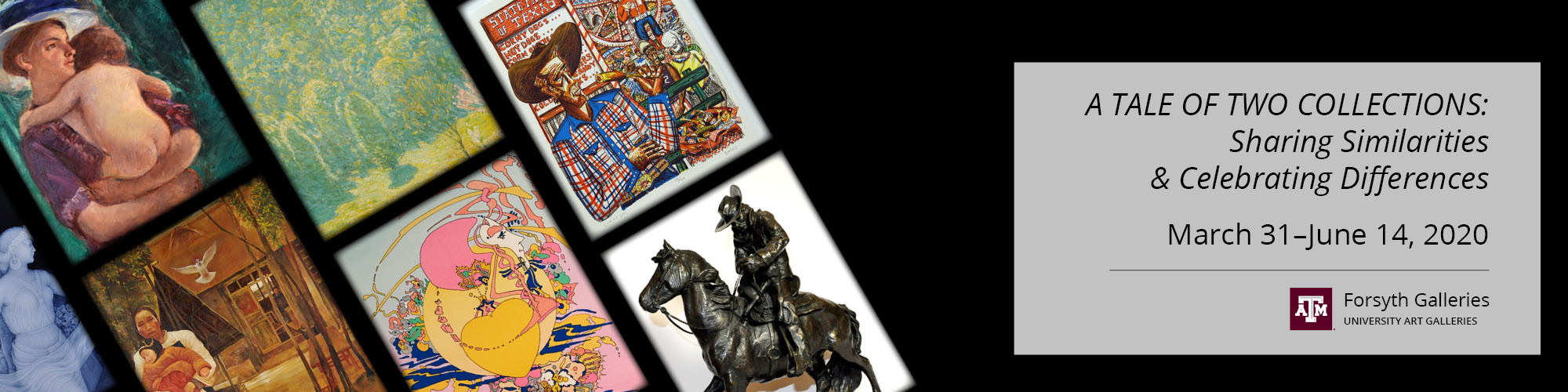 Diagonal rows of squares highlight different art pieces from the collections. One painting shows a mother holding her baby while the one below it shows a father holding a baby. The next row shows a lush landscape with an abstract painting below it. The next row shows a colorful drawing of Big Tex at the Texas State Fair while the image below it shows a sculpture of a cowboy on horseback.