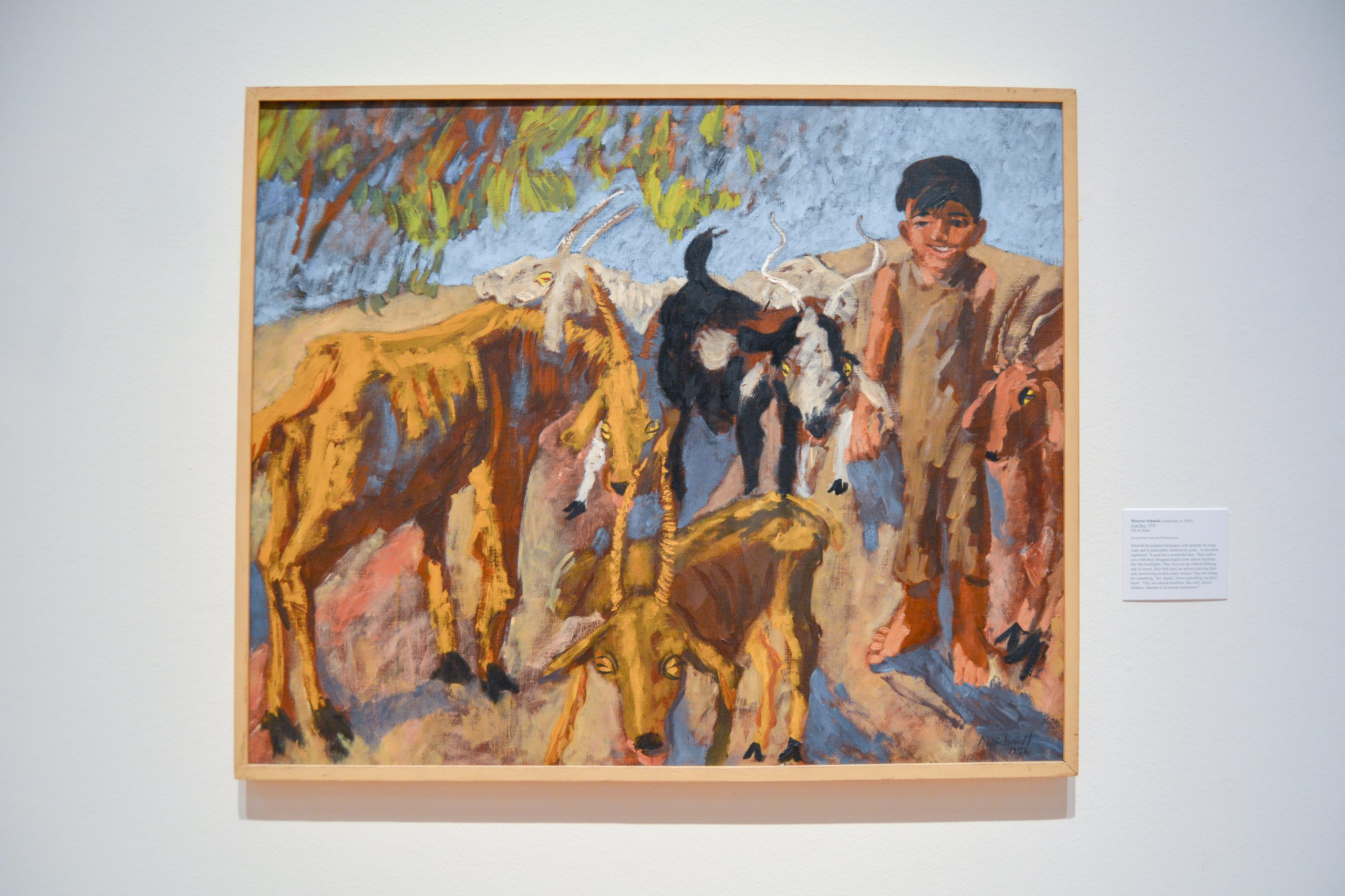Painting of boy with goats.