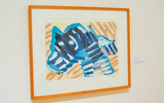 Finger painting style painting of blue dog.