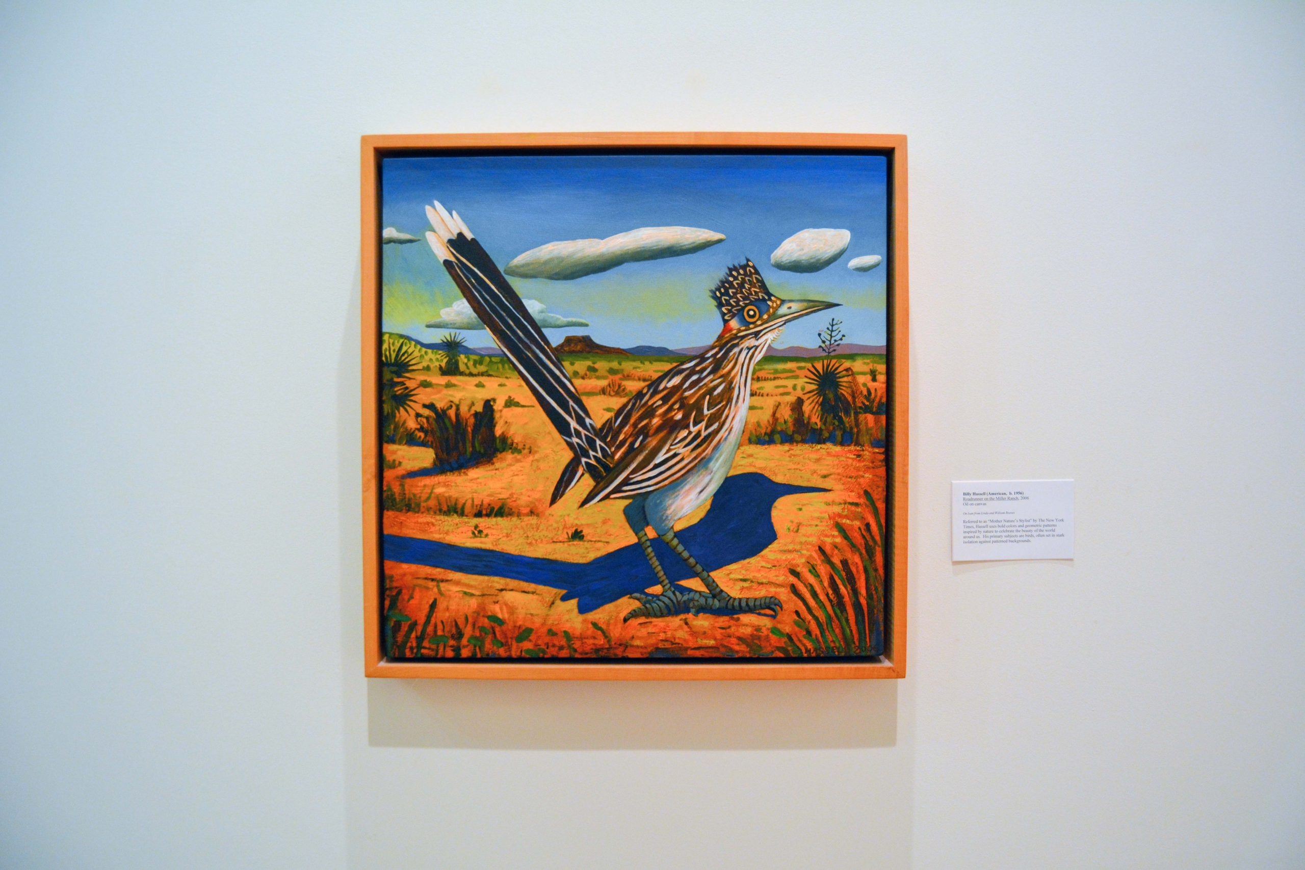 Colorful painting of wide-eyed roadrunner