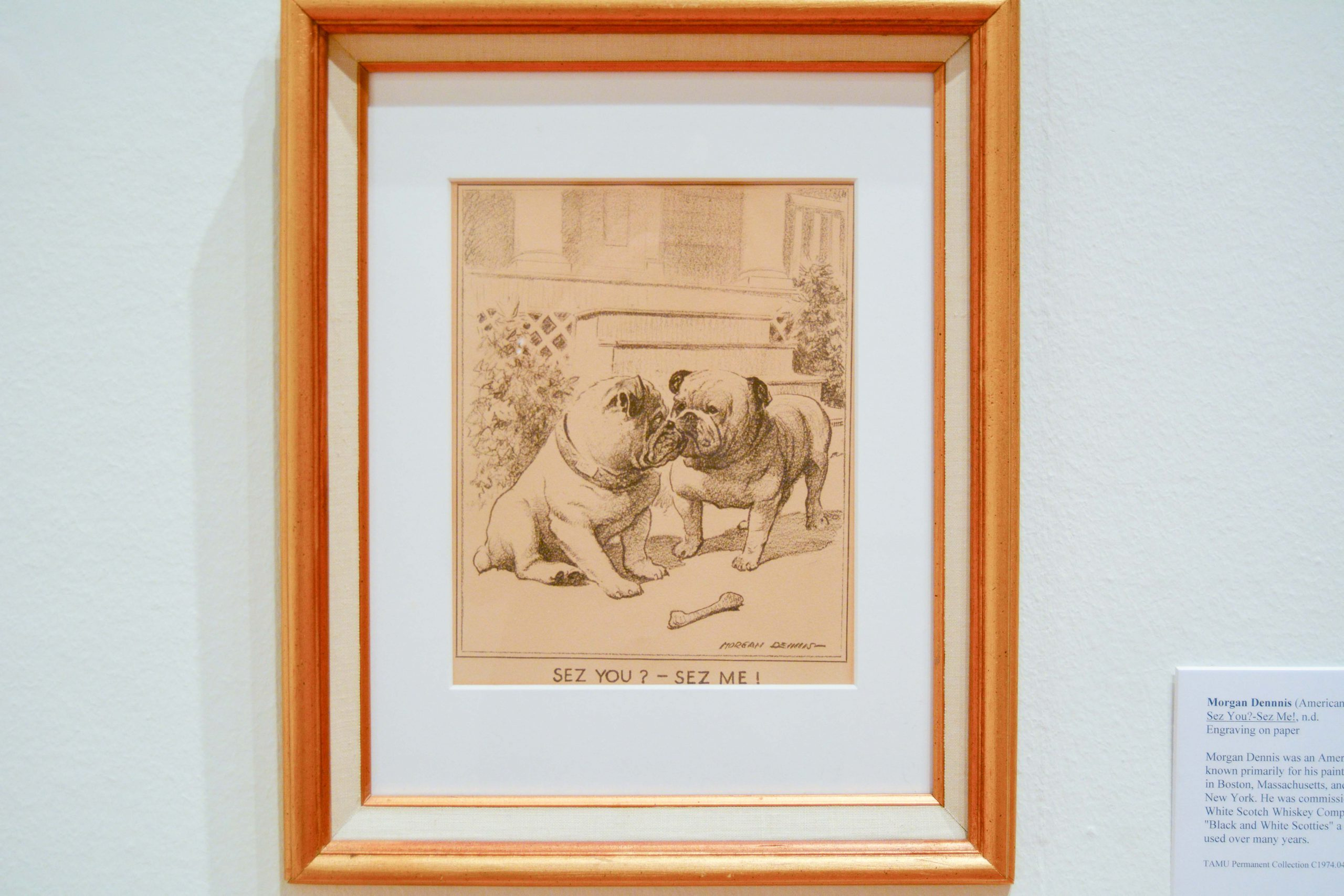 """Drawing of two Bulldogs sniffing each other; text reads """"Sez you? - Sez Me!"""""""