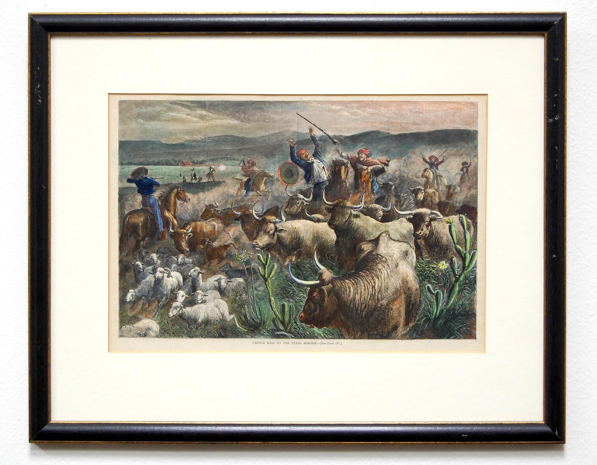 Warriors on horseback battle amongst herd of longhorn cattle and sheep