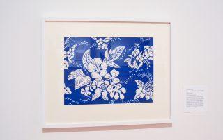 Framed blue and white Hibiscus Hawaiian shirt print