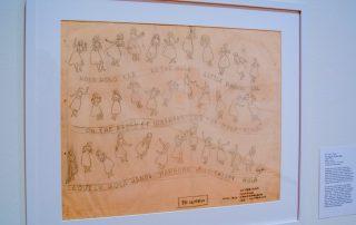 Original drawings on tracing paper showing dancing hula girls