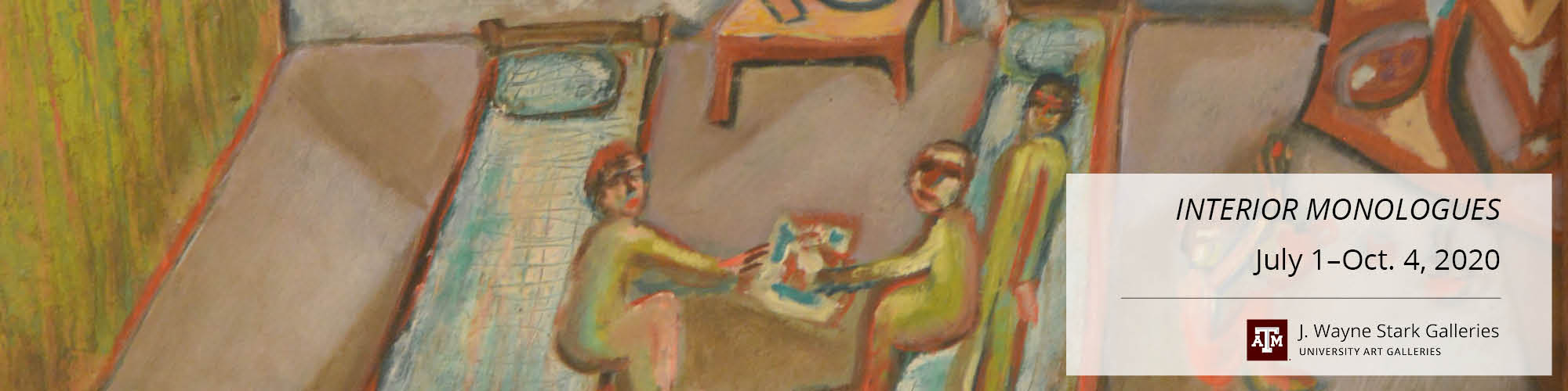 Painting. View of an interior room. We see a simple style of drawing two human figures sitting on beds opposite each other. They are passing a piece of paper between them. The paper has colorful scribbles. Another person is lying down on the bed on the right.